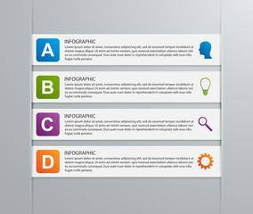 Paper ribbon infographics design template.