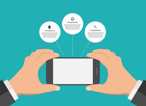 Modern design infographic with mobile phone. Vector illustration.