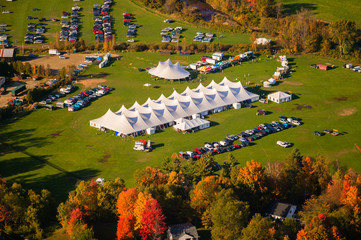 Obraz Aerial view of event tent in Vermont. - fototapety do salonu