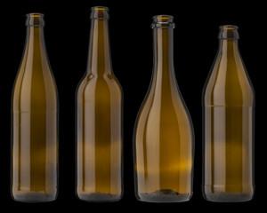 Brown bottle glass of beer and cider on black background