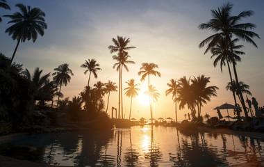 Beautiful sunset on a tropical beach (old polar style photo)