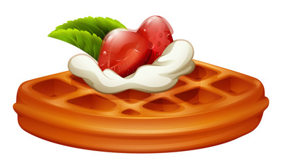 Waffle with strawberry and cream