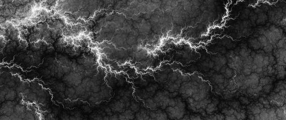 Digital fractal of fantasy lightning storm, hot electrical background.