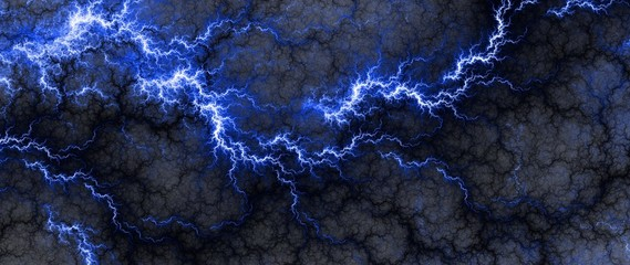 Digital fractal of fantasy lightning storm, hot electrical background.