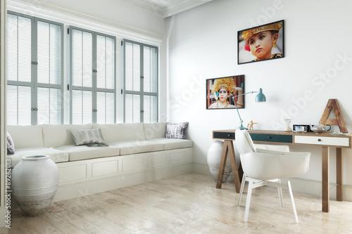 wei er raum mit schreibtisch fotos de archivo e im genes libres de derechos en. Black Bedroom Furniture Sets. Home Design Ideas