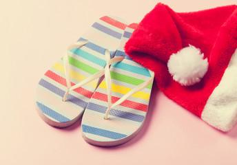 Santas hat and flip flops
