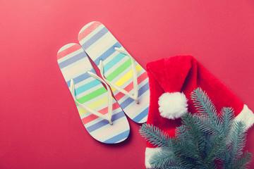 Flip flops and Santas hat