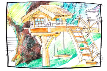 crayon illustration of a tree house plan for kids with wooden elements and stairs