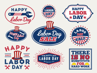 Sets of Labor day badge and labels design. for sale promotion, party decoration, vector illustration