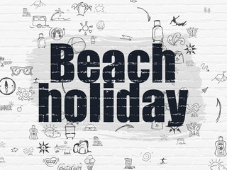 Travel concept: Beach Holiday on wall background