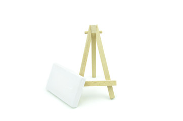 macro canvas frame on floor with wooden stand