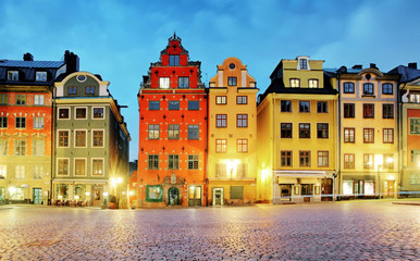 Old houses on Stortorget square at night. Stockholm, Sweden
