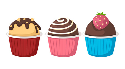 cupcake on white background vector