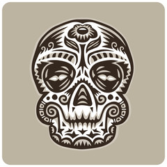 Vector sugar skull with flower on forehead