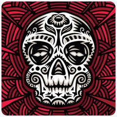 Vector sugar skull on red ornate background