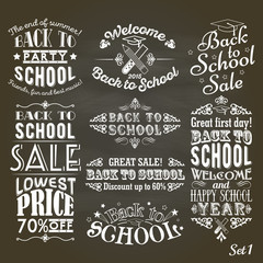 Back to School sale and party vintage labels on blackboard