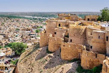 Photo sur Plexiglas Fortification Birds eye view of Jaisalmer city from Golden Fort of Jaisalmer,