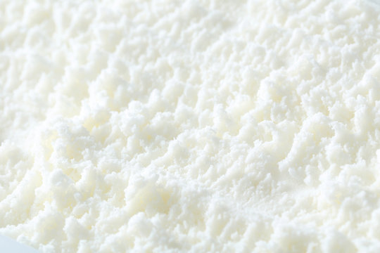 Sweet white ice cream background, close up