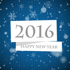 blue striped 2016 new year card