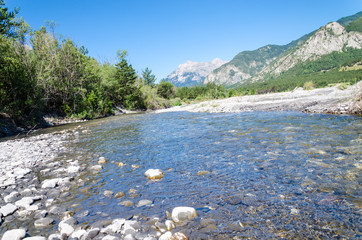 Mountain river during drought