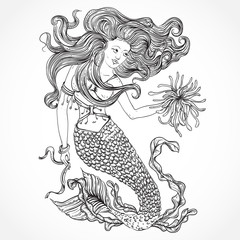 Mermaid with beautiful hair and marine plants. Tattoo art. Retro banner, invitation,card, scrap booking. t-shirt, bag, postcard, poster.Highly detailed hand drawn vector illustration
