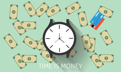 Time is money with watch, dollar, and credit card vector illustration
