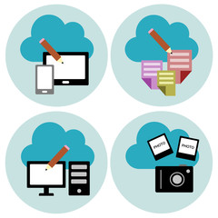 Cloud technology vector icons set