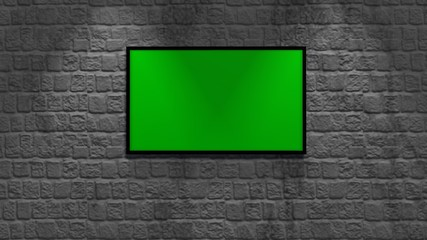 brick wall and wood floor with picture frame - green screen