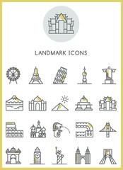 Landmark icons set vector