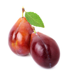 Ripe plum on a white background.