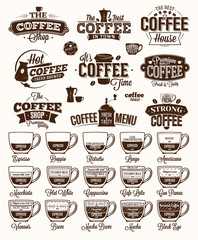 Coffee Label, logo and menu