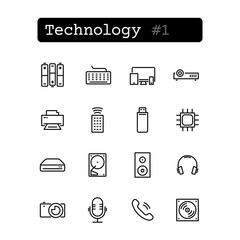 Set line thin icons. Vector. Technology, electronics.