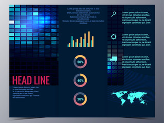 abstract blue geometric pattern brochure design template vector