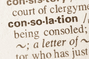 Dictionary definition of word consolation