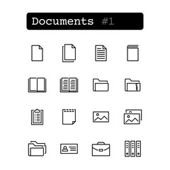 Set line thin icons. Vector. Document, file.