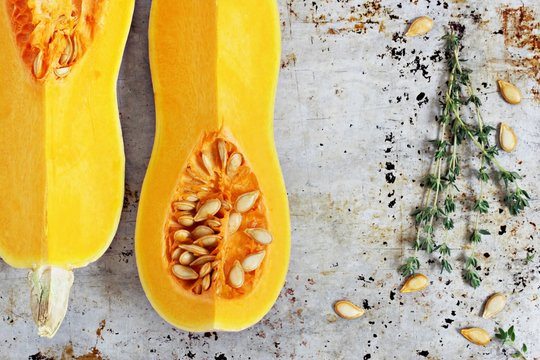Fresh butternut pumpkin (squash) . Selective focus