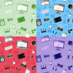 Vector seamless pattern with different gadgets