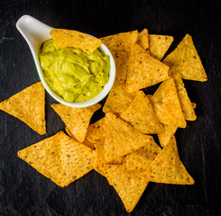 Fresh guacamole dip with chips