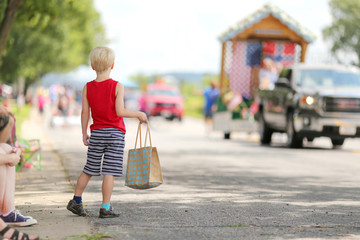 Young Child Watching Small Town America Parade
