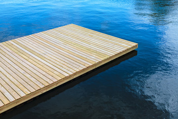 Newly built wooden landing stage
