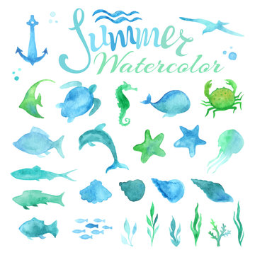 Vector set of watercolor marine life.