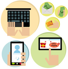 Vector illustrated set of online shopping icons.