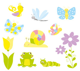 collection of cute spring elements / vectors for children