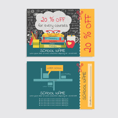 Discount voucher template design for tutoring school and or school stuff store