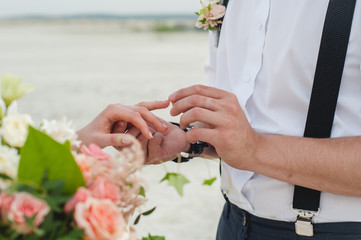 Groom wears the ring on the finger of the bride