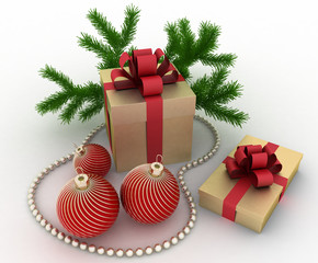 Golden gift boxes with christmas decorations on white background