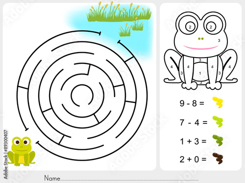 Maze game,Paint color by numbers - Worksheet for education\