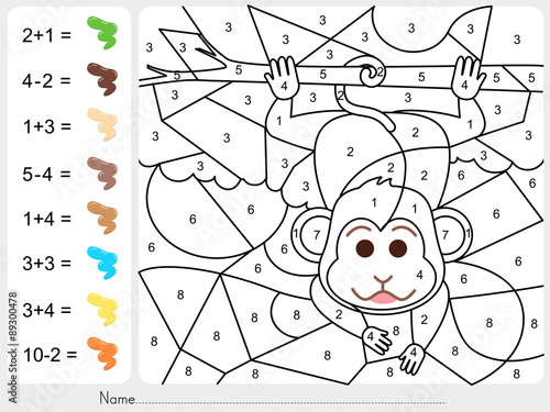 Paint color by numbers - Worksheet for education\
