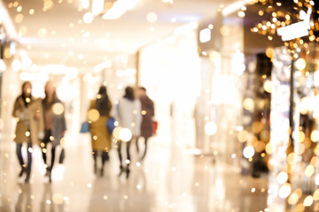 Shopping mall blur background with holiday lights