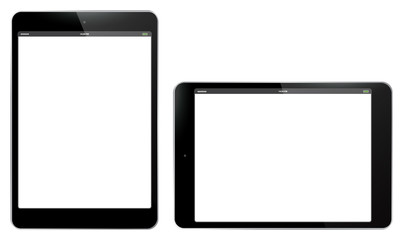 Tablet PC Vertical and Horizontal Vector Illustration.